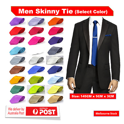 Mens Skinny Tie Thin Narrow Formal Wedding Casual Party Slim Plain Men's Necktie