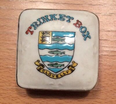 Rare Antique Crested China Arcadian Trinket Box Clovelly
