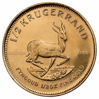 Random Date South Africa 1/2 oz Gold 1/2 Krugerrand Coin Gem BU SKU33751