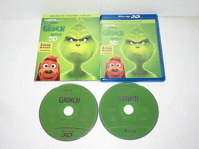 Dr Seuss The Grinch 3D 2018 Blu Ray Bluray Mint With Slipcover