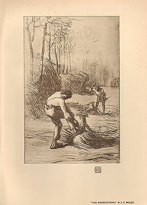 1905 VICTORIAN STUDIO PRINT ~ THE WOODCUTTERS by J. F. MILLET