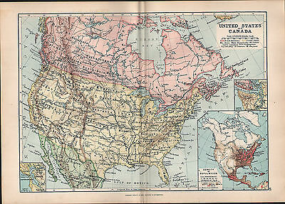 1895 Victorian Map ~ United States & Canada Population Density