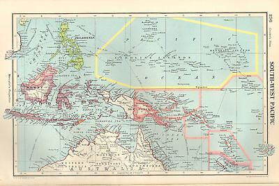 1952 Map ~ South-West Pacific ~ Indonesia Philippines Java