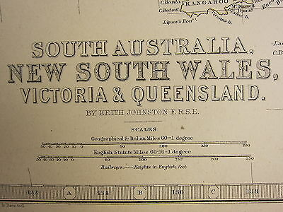 1873 Large Victorian Map ~ South Australia New South Wales Victoria Queensland