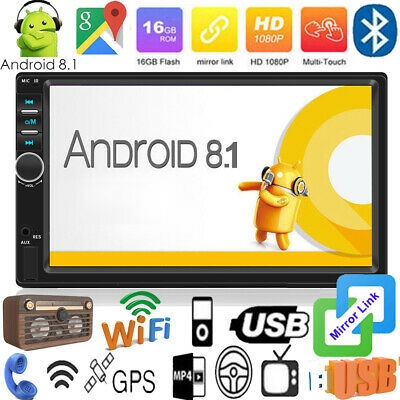 """7"""" Double 2DIN Android 8.1 GPS Nav WiFi Car Stereo MP5 Player FM Radio Bluetooth"""