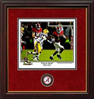 ALABAMA STEALING THE SPOTLIGHT HENRY VS LSU 2015 RIGGINS Framed PRINT and coin
