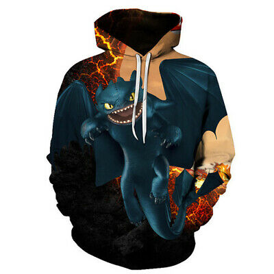 New Women Men 3D Print Film How To Train Your Dragon Hoodies Pullover Sweatshirt