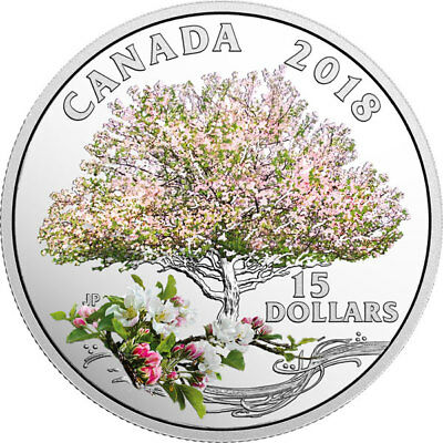 2018 'Apple Blossoms-Celebration of Spring' Colorized Prf $15 Silver Coin(18388)