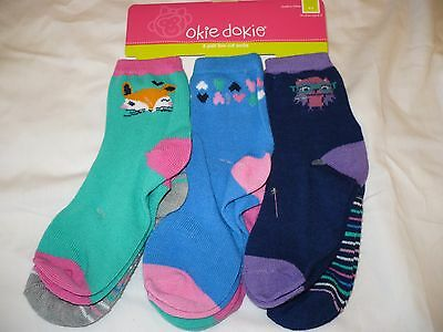 6 pr Okie Dokie Low-cut Socks Colored Tops Theme 6-12 //12-24 FREE SHIPPING!