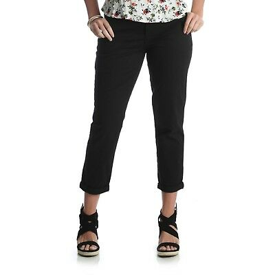 Riders by Lee Women's Cuffed Slim Cropped Pants Solid Black Size 20M NEW