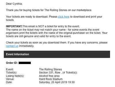 Rolling Stones Tickets - Miami Arpil 20, 2019 - $525 each - !NO FEES!