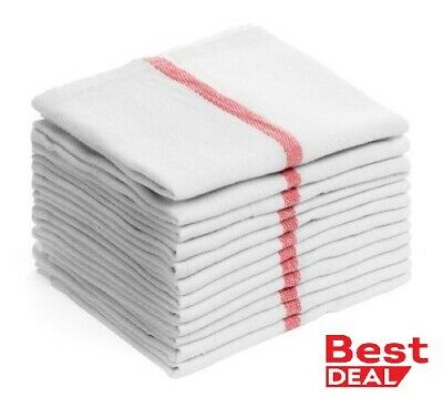 "Dish towels Pack Absorbent White Cotton RED Striped 15 x 25"" Kitchen 2,6,12,24"