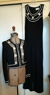 Sharagano  Black & White Jumpsuit with matching jacket (see measurements)