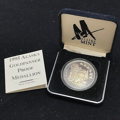 1995 Alaska Mint Goldpanner Proof Medallion 1 oz .999 Silver - with Gold Nugget