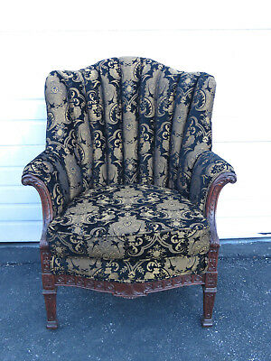 Early 1900s French Wing Carved Living Bed Room Side Fireplace Den Chair 9455