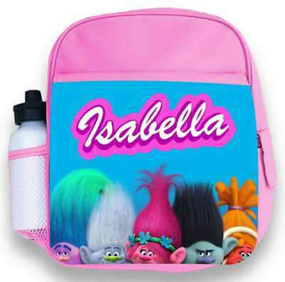 Personalised Kids Backpack Any Name Trolls Girl Childrens Back To School Bag 6