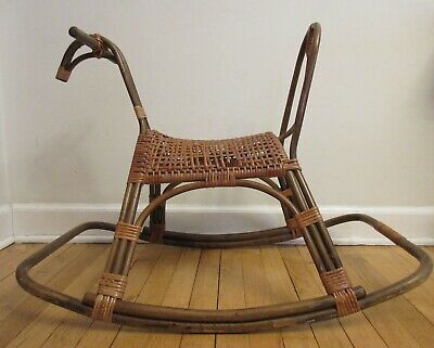 Vintage Mid Century Modern FRANCO ALBINI Bamboo Rattan Rocking Horse