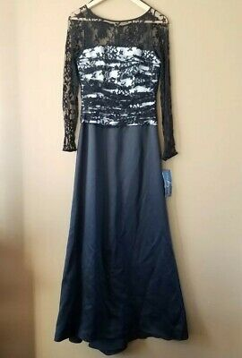 NWT JS Collections Womens Petite 8 Gown Formal Dress Black White Long Sleeve