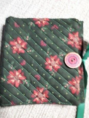 Quilted Handmade Needle Book Green Red Tudor Rose wooden button