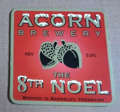 ACORN brewery THE 8TH NOEL xmas cask ale beer badge front pump clip yorkshire
