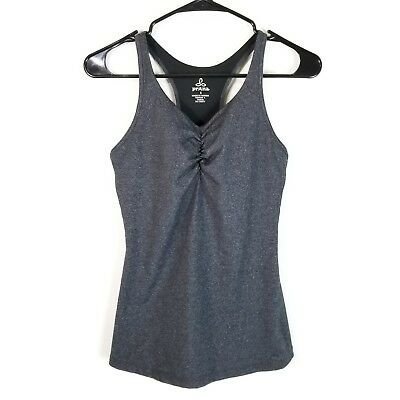 0a1723d55d43f Prana Womens S Athletic Tank Top Built In Bra Racerback Ruched Middle Work  Out