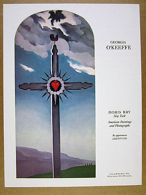 1981 Georgia O'Keeffe 'Cross with Red Heart' painting Doris Bry vintage print Ad