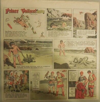 Prince Valiant Sunday by Hal Foster from 1/9/1972 2/3 Full Page Size !