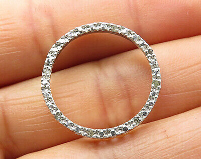 925 Sterling Silver - Diamond Encrusted Open Circle Pendant - P5391