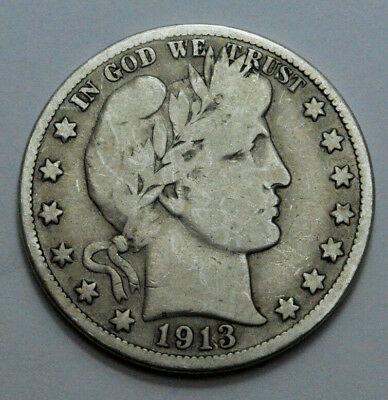 1913-S  Barber Half  Dollar KEY DATE SCARCE COIN 50c. 90% Silver ~ !!!