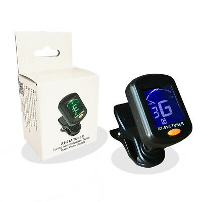 Lcd Clip-on Electric Digital Guitar Tuner Acoustic Bass Ukulele Tuning Black Uk