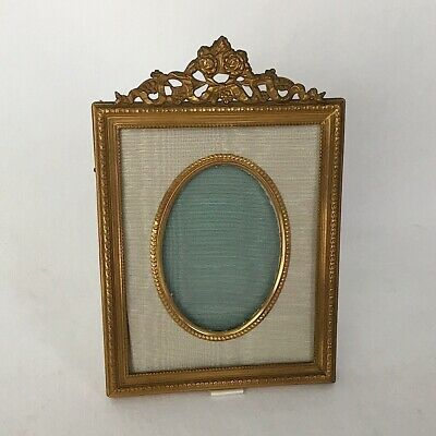 French Brass and Moire Picture Frame wjth Floral and Bow Heading