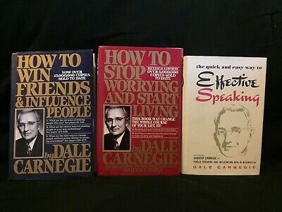 Dale Carnegie How To Win Friends How To Stop Worrying Speaking; 3 Hardcover Lot
