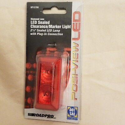 RoadPro RP1030RDL Red 2 Round Diamond Lens Sealed LED Light with 2-Pin Connection