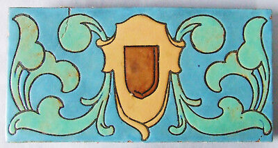 Mosaic Tile Company American Arts & Crafts Pottery Old Fireplace Ceramic Shield