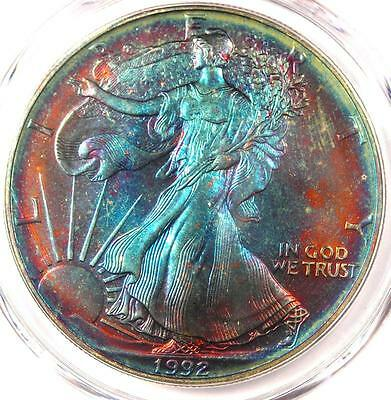 1992 Toned American Silver Eagle Dollar $1 ASE - PCGS MS68 - Rainbow Toning !