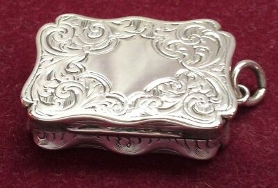 Antique Victorian Sterling Silver Gilt Vinaigrette Made By Nathaniel Mills 1857