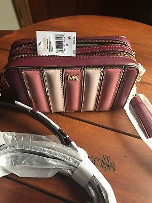 98f1ffb5cfd32a Michael Kors Quilted Tricolor Camera Bag Oxblood Multi/Gold - Gift With  Purchase
