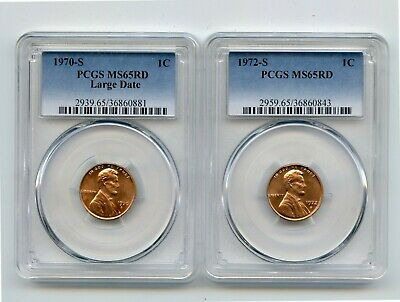 1970-S Large Date/1972-S Lincoln Memorial Cents (MS65 RD) PCGS 2 Coins