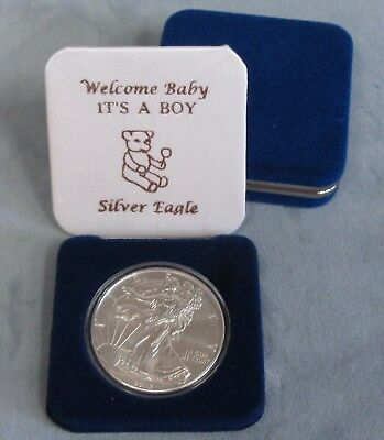 """UNC 2019 Silver Eagle in """"IT'S A BOY WELCOME BABY"""" Blue Gift Box 1oz Silver"""