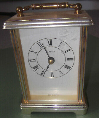 Vintage,german Made Minster Solid Bodied Brass Carriage Clock - Quartz - Working