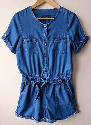 90s Vintage Blue Playsuit Romper Small S Casual Spring Summer Festival Tencel