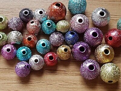 100 Mixed Acrylic METALLIC Sparkly Glitter BEADS 4mm 6mm or 8mm-Jewellery Making