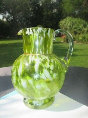 Victorian Jelly Lime Green Opalescent Splash Glass Jug Pitcher 5 7/8""