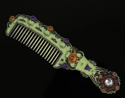 Collect China Old Cloisonne Hand Carve Flower Inlay Crystal Delicate Noble Comb