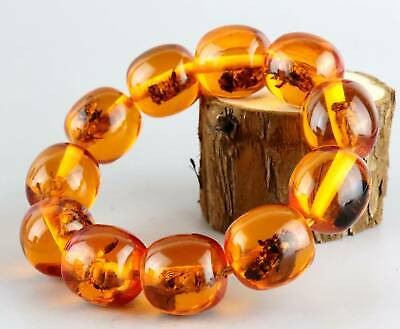 Collectable Natural Amber Hand Carve Texture Smooth Beads Unique Decor Bracelet