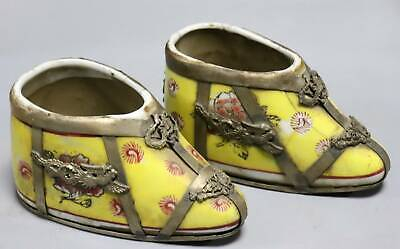 Collect Old Tibet Silver Armoured Porcelain Carve China Ancient Girl Shoe Statue