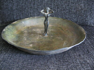 ANCIENT ROMAN BRONZE RITUAL SAUCER WITH WOMAN FIGURE ON CENTRE 1-2 ct.AD 200 mm