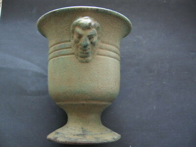 2 DEMONS FACE ANCIENT CELTIC BRONZE ENGRAVED RITUAL GOBLET CUP 300-100 BC. 10 cm