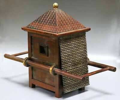 Collectable Antique Boxwood Hand Carve China Ancient Palanquin Precious Statue