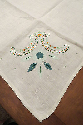 """Vintage Tablecloth With Applique And Embroidered Floral Design 31 1/2"""" x 33"""""""